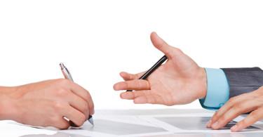 businessmen hands sign up contract